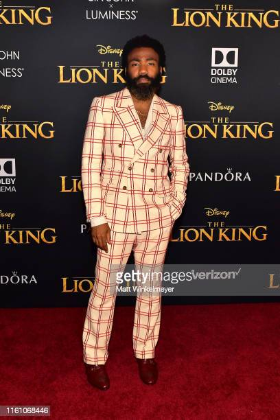 "Donald Glover attends the premiere of Disney's ""The Lion King"" at Dolby Theatre on July 09, 2019 in Hollywood, California."