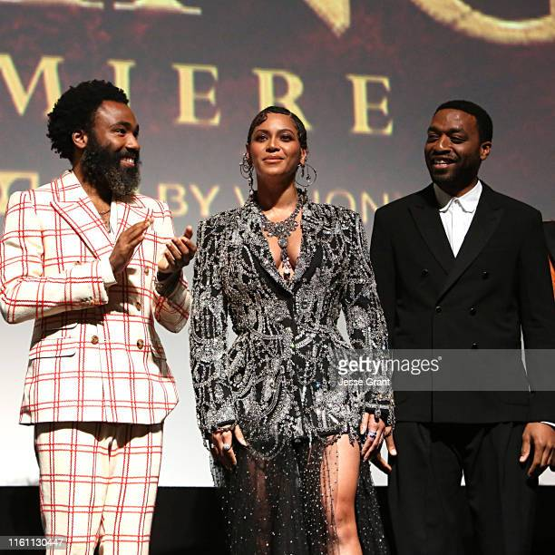 Donald Glover Beyonce KnowlesCarter and Chiwetel Ejiofor attend the World Premiere of Disney's THE LION KING at the Dolby Theatre on July 09 2019 in...