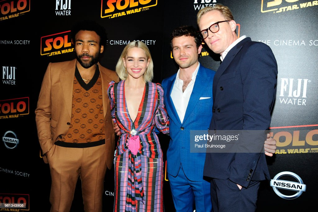 Donald Glover, Emilia Clarke, Alden Ehrenreich and Paul Bettany attend The Cinema Society With Nissan & FIJI Water Host A Screening Of 'Solo: A Star Wars Story' at SVA Theatre on May 21, 2018 in New York City.