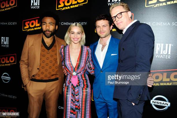 Donald Glover Emilia Clarke Alden Ehrenreich and Paul Bettany attend The Cinema Society With Nissan FIJI Water Host A Screening Of 'Solo A Star Wars...