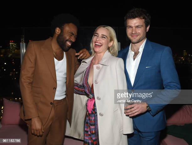 Donald Glover Emilia Clarke and Alden Ehrenreich attend the 'Solo A Star Wars Story' New York Premiere After Party on May 21 2018 in New York City