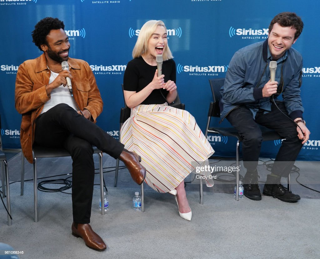 Donald Glover, Emilia Clarke and Alden Ehrenreich take part in SiriusXM's Town Hall with the cast ofÊSolo: A Star Wars Story hosted by SiriusXM's Dalton Ross at SiriusXM Studios on May 21, 2018 in New York City.