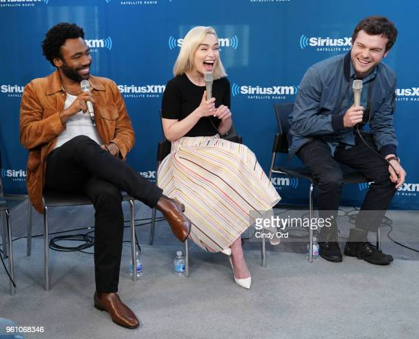 Donald Glover Emilia Clarke and Alden Ehrenreich take part in SiriusXM's Town Hall with the cast ofÊSolo A Star Wars Story hosted by SiriusXM's...