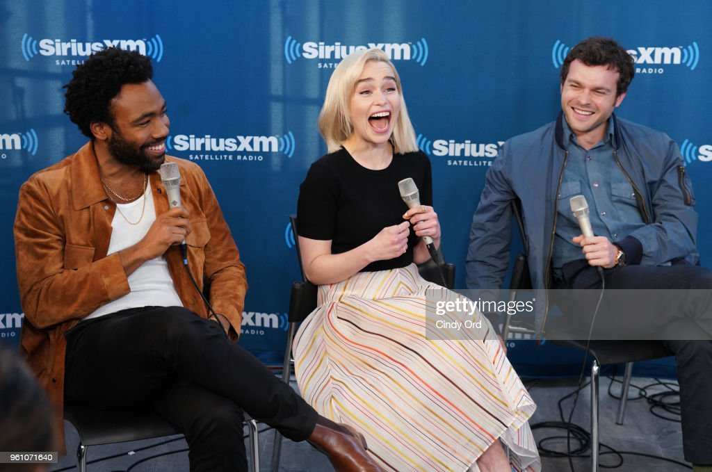 Donald Glover, Emilia Clarke and Alden Ehrenreich take part in SiriusXM's Town Hall with the cast of Solo: A Star Wars Story hosted by SiriusXM's Dalton Ross at SiriusXM Studios on May 21, 2018 in New York City.
