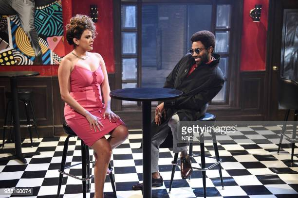LIVE Donald Glover Episode 1744 Pictured Cecily Strong as Ann Saunders Donald Glover as Razz P Berry Jr during '80s Music Video' in Studio 8H on...
