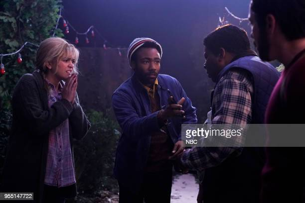 LIVE Donald Glover Episode 1744 Pictured Cecily Strong Donald Glover Aidy Bryant Kenan Thompson during 'A Quiet Place' on Saturday May 5 2018