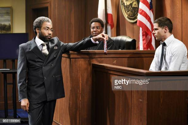 LIVE Donald Glover Episode 1744 Pictured Donald Glover Kenan Thompson Mikey Day during 'Courtroom' in Studio 8H on Saturday May 5 2018