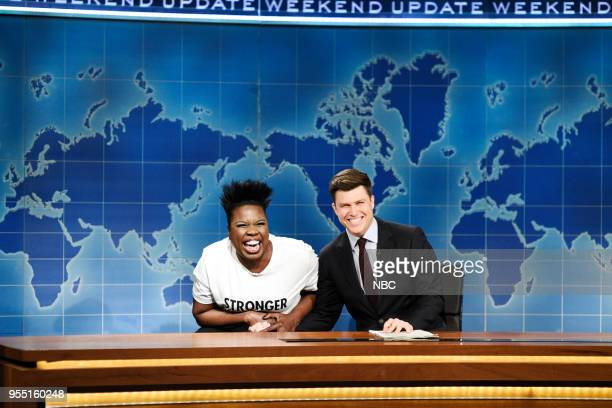 LIVE Donald Glover Episode 1744 Pictured Leslie Jones Colin Jost Michael Che during 'Weekend Update' in Studio 8H on Saturday May 5 2018