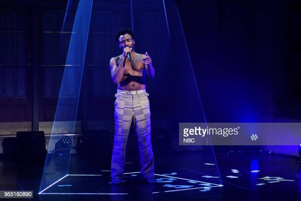 """Donald Glover"""" Episode 1744 -- Pictured: Musical Guest Childish Gambino performs """"This Is America"""" in Studio 8H on Saturday, May 5, 2018 --"""