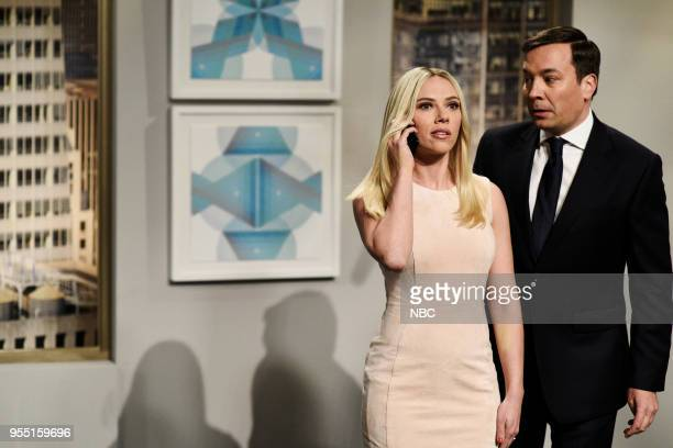 LIVE Donald Glover Episode 1744 Pictured Scarlett Johansson as Ivanka Trump Jimmy Fallon as Jared Kushner during 'Michael Cohen Wiretap Cold Open' in...