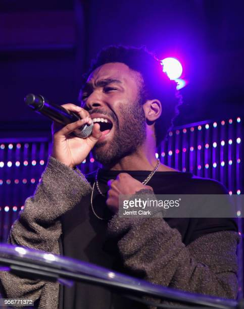 Donald Glover performs onstage during The Stevie Wonder Song Party at The Peppermint Club on May 9 2018 in Los Angeles California
