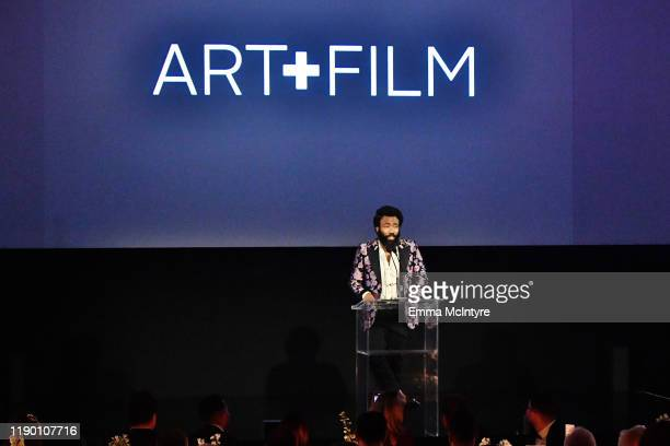 Donald Glover wearing Gucci speaks onstage during the 2019 LACMA Art Film Gala Presented By Gucci at LACMA on November 02 2019 in Los Angeles...