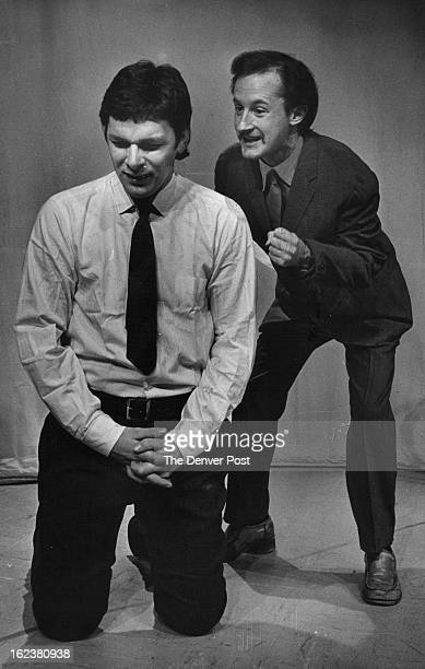 FEB 25 1976 FEB 26 1976 Donald Hawley Left Listens To Tom Hughes His Alter Ego Stars in Philadelphia Here I Come opening Thursday at Bonfils Theatre
