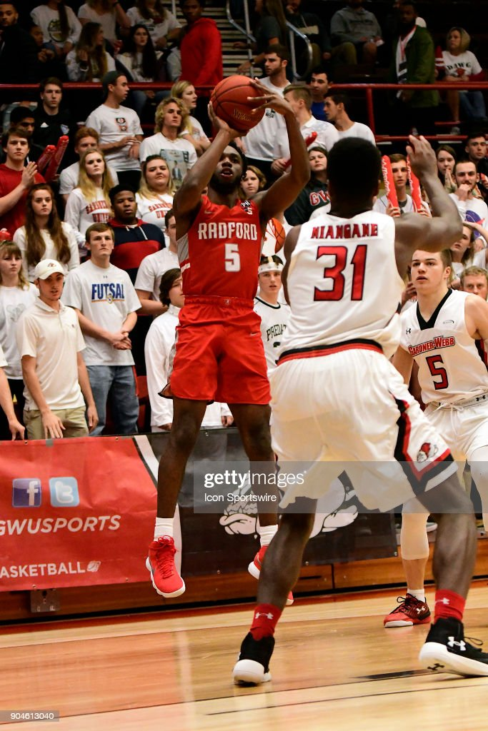 Donald Hick (5) guard Radford University Highlanders misses this three-point jumper early against the Gardner-Webb University Runnin Bulldogs, Friday, January 12, 2018, at Paul Porter Arena in Boiling Springs, North Carolina.