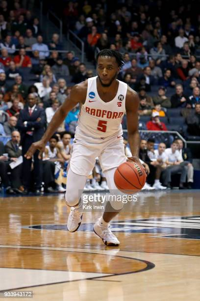 Donald Hicks of the Radford Highlanders dribbles the ball during the game against the LIU Brooklyn Blackbirds at UD Arena on March 13 2018 in Dayton...