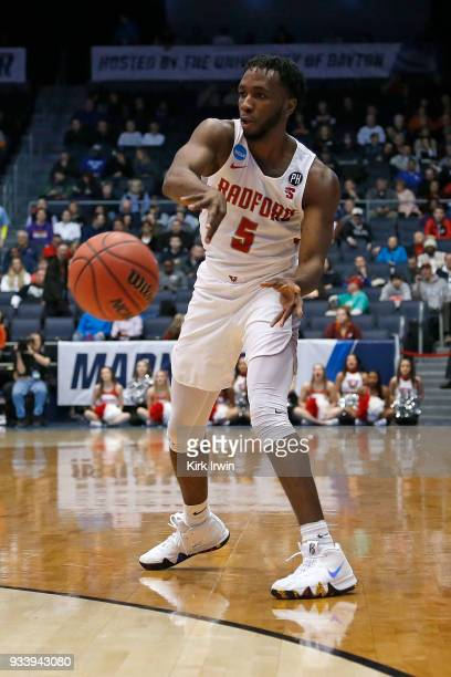 Donald Hicks of the Radford Highlanders passes the ball during the game against the LIU Brooklyn Blackbirds at UD Arena on March 13 2018 in Dayton...