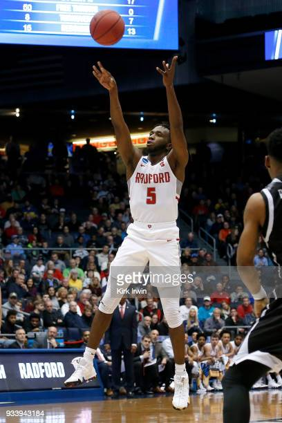 Donald Hicks of the Radford Highlanders shoots the ball during the game against the LIU Brooklyn Blackbirds at UD Arena on March 13 2018 in Dayton...