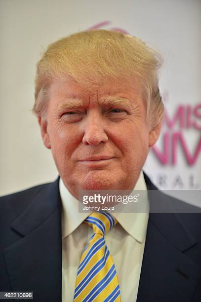 Donald J Trump attends The 63rd Annual Miss Universe Pageant Red Carpet at Trump National Doral on January 25 2015 in Doral Florida