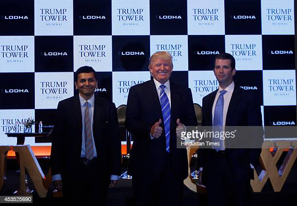 Donald J Trump Chairman and President of The Trump with Donald J Trump Jr Executive Vice President and Abhishek Lodha MD of Lodha Group at the launch...