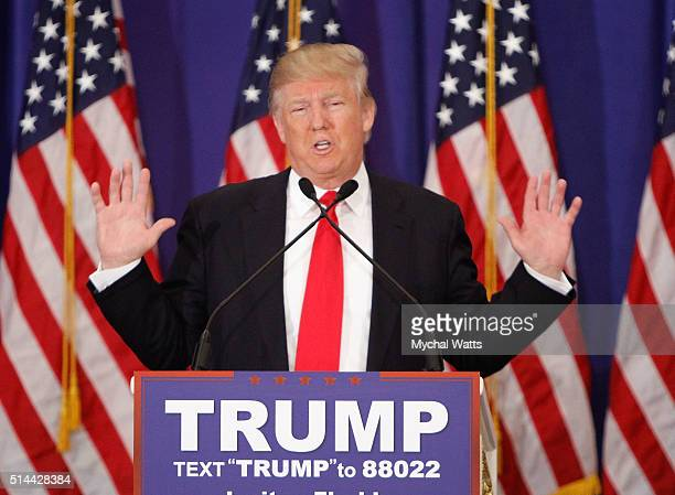 Donald J Trump holds a press conference at Trump National Golf Club Jupiter on March 8 2016 in Jupiter Florida
