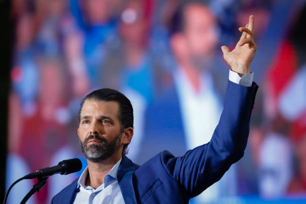 Donald J. Trump Jr. Speaks at rally on July 3, 2021 in Sarasota, Florida. Co-sponsored by the Republican Party of Florida, the rally marks Trump's...