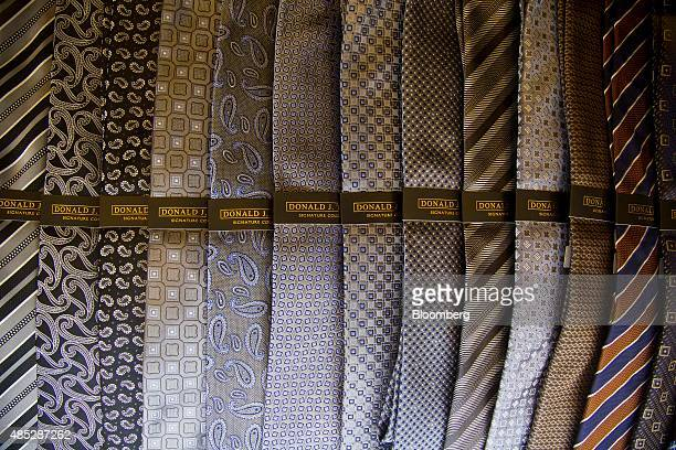 Donald J Trump neckties are displayed for sale inside a store at Trump Tower in New York US on Wednesday Aug 26 2015 Trump president and chief...