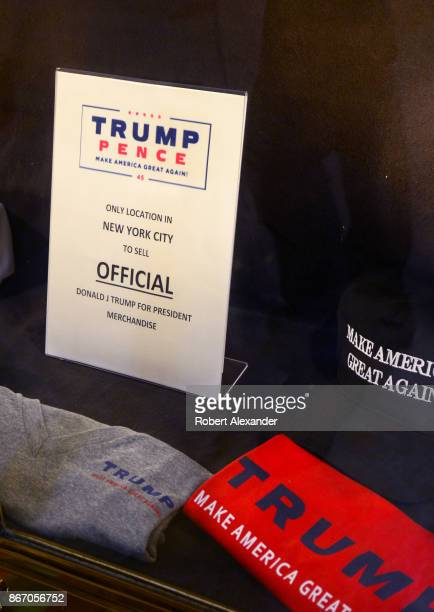 Donald J Trump US presidential campaign merchandise for sale in Trump Tower in New York New York
