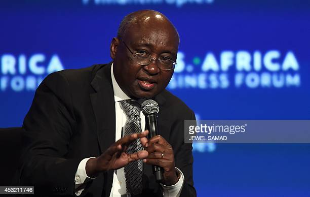 Donald Kaberuka president of African Development Bank moderates a session during USAfrica Business Forum on the sideline of the USAfrica Leaders...