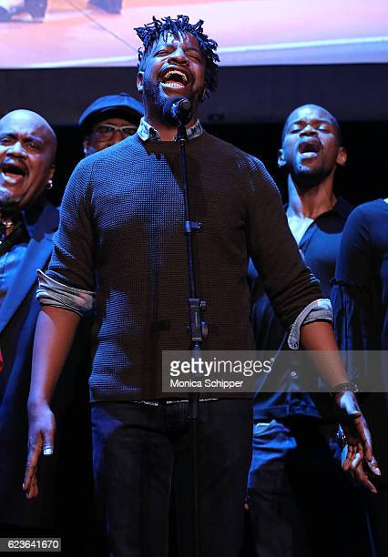 Donald King Jr performs on stage at 'The First Noel' Sneak Peek at The Apollo Theater on November 16 2016 in New York City