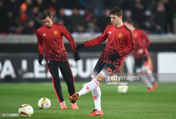 Donald Love of Mancherster United warms up prior to the UEFA Europa League round of 32 first leg match between FC Midtjylland and Manchester United...