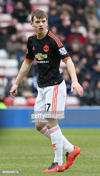 Donald Love of Manchester United in action during the Barclays Premier League match between Sunderland and Manchester United at Stadium of Light on...