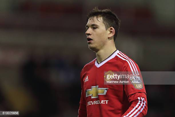 Donald Love of Manchester United U21 during the Barclays Under21 Premier League Division One match between Manchester United U21 and Manchester City...