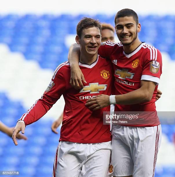 Donald Love of Manchester United U21s celebrates scoring their first goal during the Barclays U21 Premier League match between Tottenham Hotspur U21s...