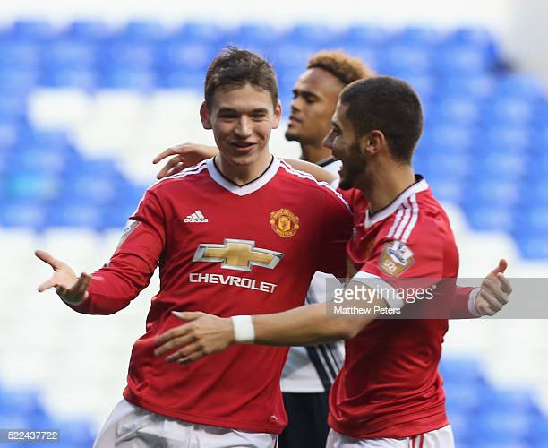 Donald Love of Manchester United U21s celebrates scoring their first goal during the Barclays U21 Premier League match between Tottenham Hotspur U21s...