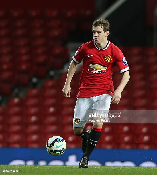 Donald Love of Manchester United U21s in action during the Barclays U21 Premier League match between Manchester United and Tottenham Hotspur at Old...