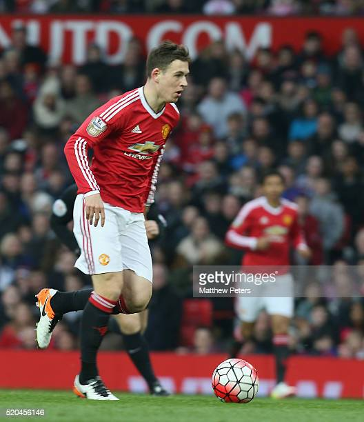 Donald Love of Manchester United U21s in action during the Barclays U21 Premier League match between Manchester United U21s and Middlesbrough U21s at...