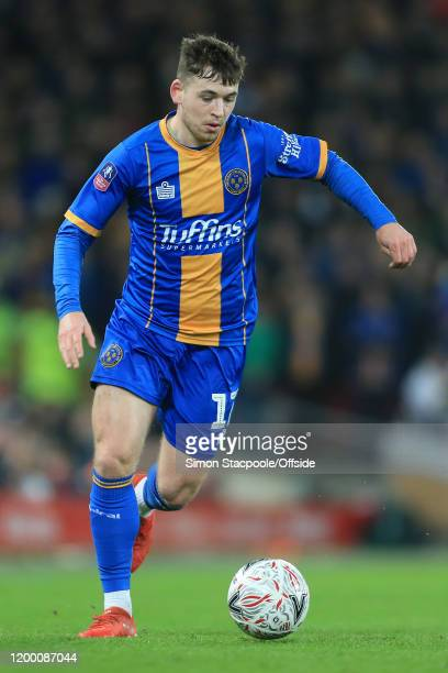 Donald Love of Shrewsbury in action during the FA Cup Fourth Round Replay match between Liverpool and Shrewsbury Town at Anfield on February 4 2020...