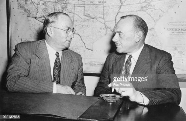 Donald M Nelson chairman of the US War Production Board and Oliver Lyttelton the British Minister of Production begin a series of conferences on the...