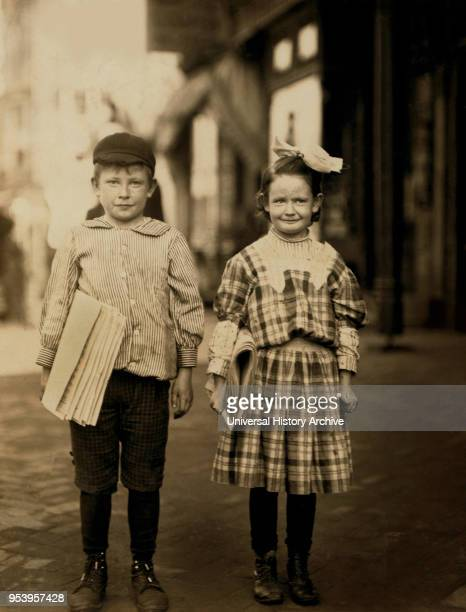 Donald Mallick Myrtle Mallick 8 years FullLength Portrait Selling Newspapers Wilmington Delaware USA Lewis Hine for National Child Labor Committee...