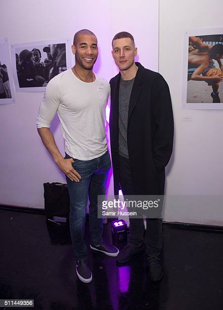 Donald McGrath and Oguchi Onyewu attends the Urban Outfitters and Centrefold magazine LFW launch party to showcase artists from around the world in a...