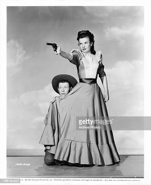 Donald O'Connor and Gale Storm publicity portrait from the film 'Curtain Call At Cactus Creek', 1950.