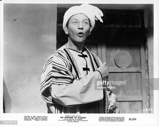 Donald O'Connor playing the title role in a scene from the film 'The Wonders of Aladdin' 1961