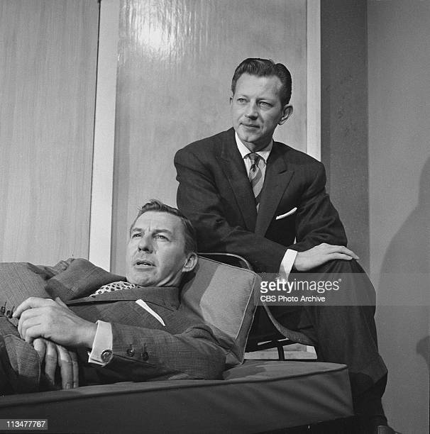 Donald O'Connor right and David Wayne in JetPropelled Couch on PLAYHOUSE 90 Image dated October 29 1957