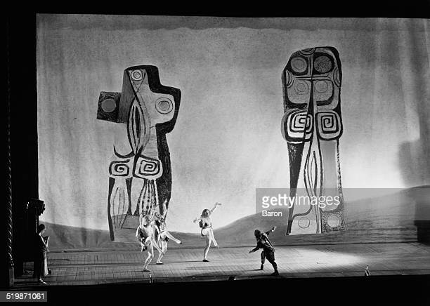 Donald Of The Burthens played by Alexander Grant meets the three Goat Men in the Sadler's Wells Ballet production of Léonide Massine's Scottish...