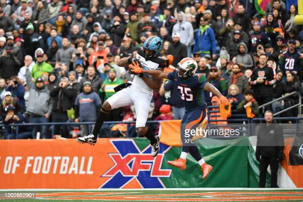 Donald Parham of the Dallas Renegades catches a touchdown during the XFL game against the Seattle Dragons at CenturyLink Field on February 22 2020 in...