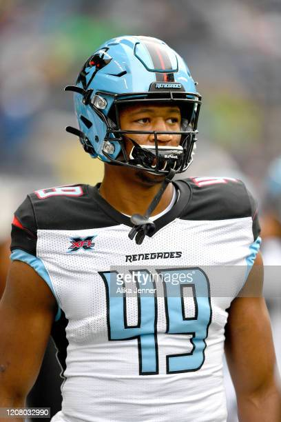 Donald Parham of the Dallas Renegades looks on before the game against the Seattle Dragons at CenturyLink Field on February 22, 2020 in Seattle,...