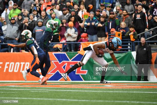 Donald Parham of the Dallas Renegades scores a touchdown during the XFL game against the Seattle Dragons at CenturyLink Field on February 22, 2020 in...