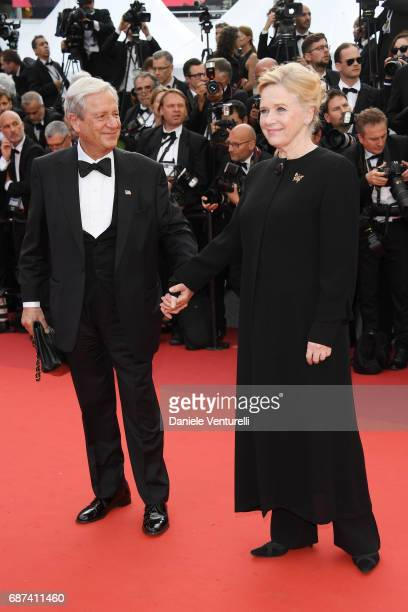 Donald Saunders and Liv Ullmann attend the 70th Anniversary screening during the 70th annual Cannes Film Festival at Palais des Festivals on May 23...