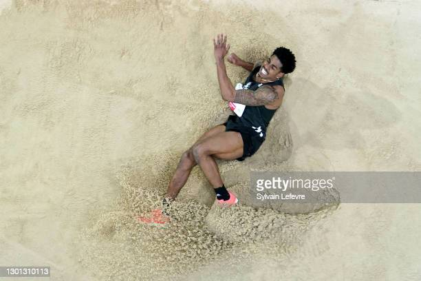 Donald Scott of the United States competes in the triple jump event during the World Athletics Indoor Tour at Arena Stade Couvert on February 09,...
