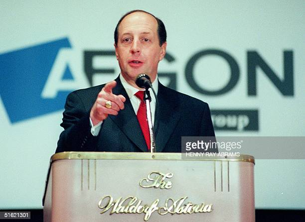 Donald Shepard a member of the Executive Board of AEGON NV an international insurance organization based in Holland takes a question at the press...